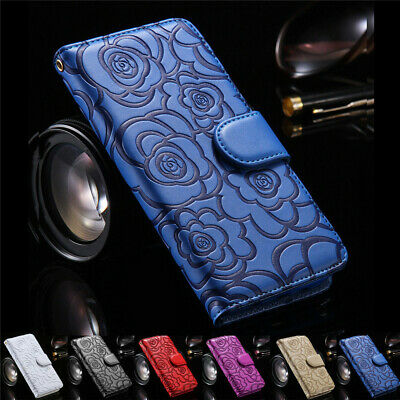 iPhone 8 7 Plus Luxury Wallet Leather Rose Patterned Card Flip Stand Case Cover