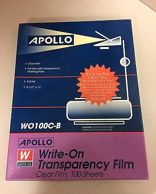 New Box APOLLO WO100C-B Write-On TRANSPARENCY FILM 100 Clear 8.5 x 11