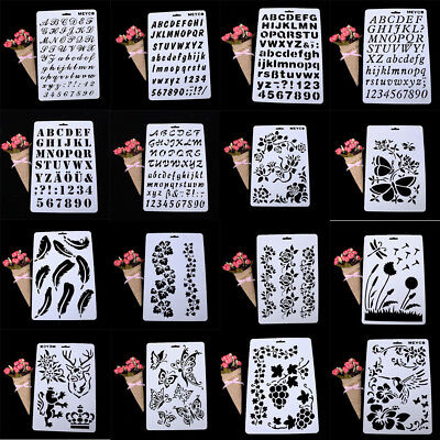 Letters Alphabet Number Layering Stencils Painting Scrapbooking Paper Card Craft