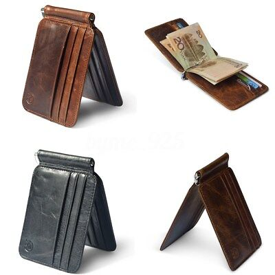 AU Men Cowhide Genuine Leather Bifold Wallet Money Clip Card Holder Slim Purse
