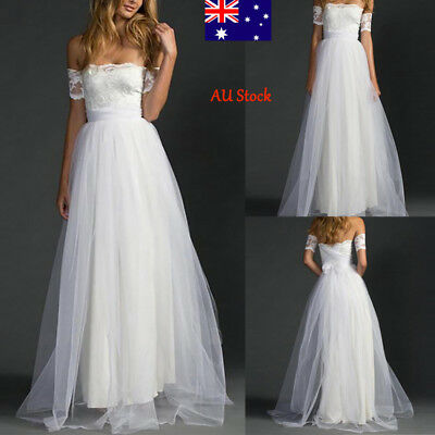 Women Off Shoulder Lace Wedding Dress Ladies Elegant Eveving Formal New Long Top