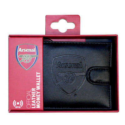Arsenal Black Leather Wallet RFID Safe Embossed Gift Officialy Licensed Boxed