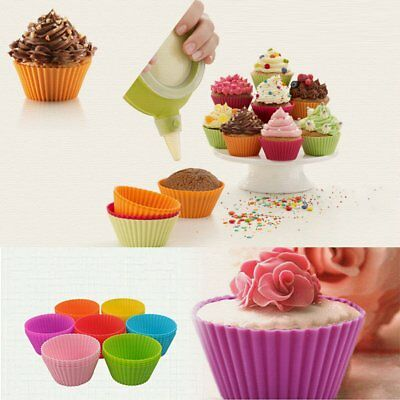 24-Pack Cupcake Liners Muffin Cake Molds Reusable Silicone Baking Cups