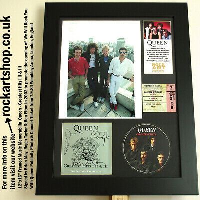 QUEEN Hits *SIGNED BY BRIAN MAY+ROGER TAYLOR* +Pub Photo+1984 Ticket Autographed
