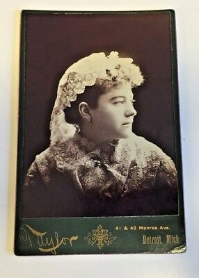 Antique Victorian Lady Cabinet Card Photo Profile Lace Head Scarf Taylor Detroit