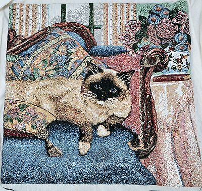 """TAPESTRY Siamese Cat 16"""" Pillow Cover case Dark Blue Back"""