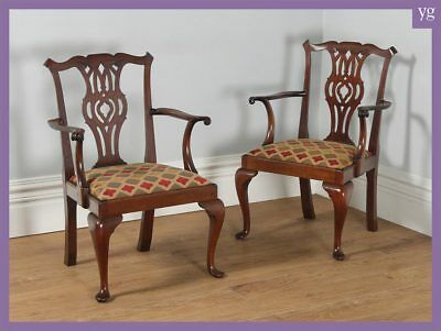 Antique Pair Two 2 Chippendale Style Mahogany Office Desk Dining Armchairs c1900