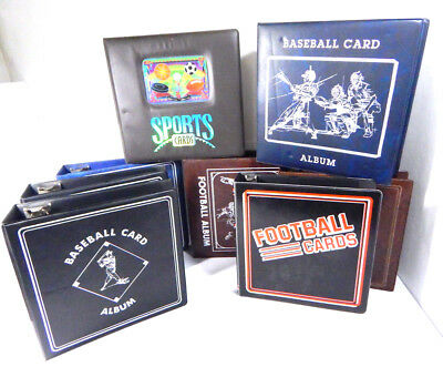 "Lot of (8) Used Sports Card Collector Albums ~ 3"" Binders"