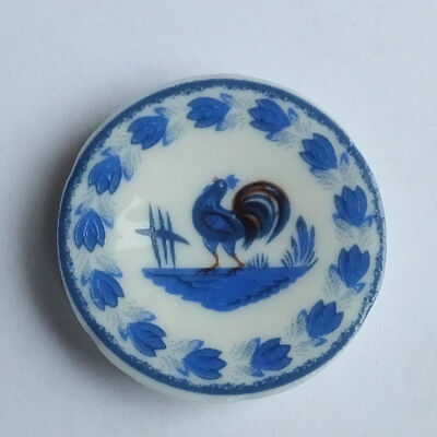 Dolls house miniatures: French porcelain plate with blue rooster design