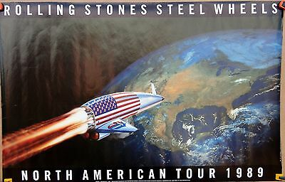 """Vintage 1989 Rolling Stones """"Steel Wheels"""" North American Tour Poster"""