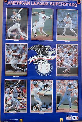 VINTAGE 1989 AMERICAN BASEBALL LEAGUE SUPERSTARS POSTER  (Price Reduced By 50%)