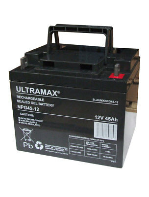 MOBILITY SCOOTER BATTERIES 2 X 12v 45AH AGM/GEL DEEP CYCLE UPGRADE 38AH