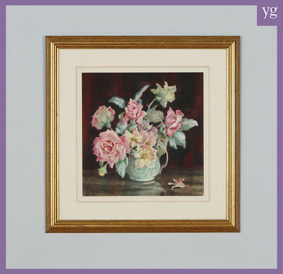 Antique English Watercolour Painting of Flowers in a Vase by Helen Seddon C.1930