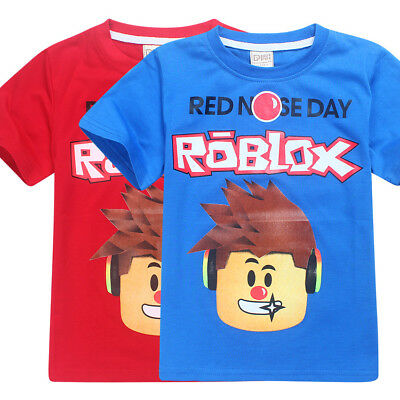 ROBLOX RED NOSE DAY Teens Kids Boys Cartoon Character Short Sleeve Top T-shirts