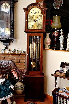 Vintage Fenclocks, 'FHS' Grandmother 8-Day Oak Clock, 3 Melodies Chimes, Moon Ph