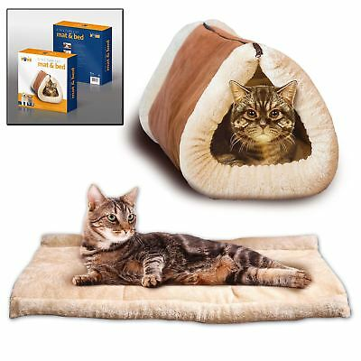 New 2 In 1 Kitty Shack Pet Self Heating Tunnel Bed Cat Dog Portable Warm Hot Mat