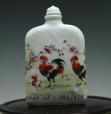 Chinese Porcelain Rose Roosters/Chickens Snuff Bottle