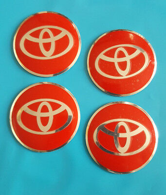 4 x ALLOY WHEEL HUB CENTRE CAPS STICKERS 56mm / 54mm TOYOTA RED