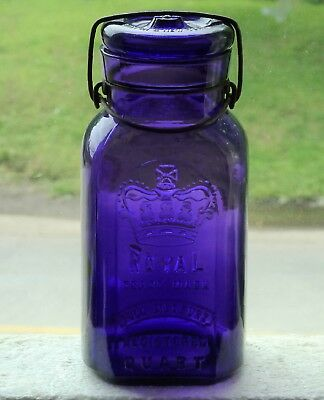 Antique quart size ROYAL purple fruit canning jar FREE SHIPPING!