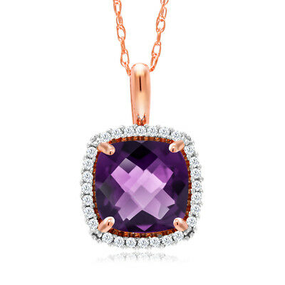 10K Rose Gold 1.30 Ct Cushion Checkerboard Purple Amethyst and Diamond Pendant