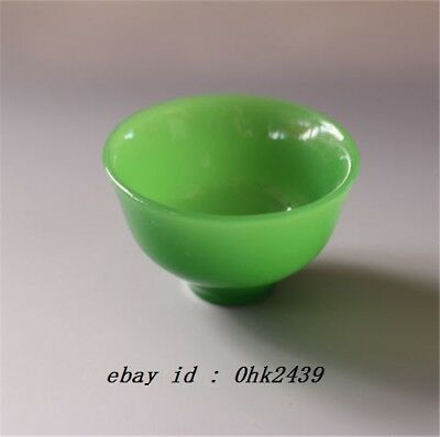 Chinese Handmade Natural Green jade Carved Pure Small Exquisite Bowl Cup