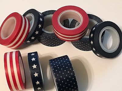 LOT OF 6 - RED/WHITE/BLUE WASHI TAPE Patriotic Accessories