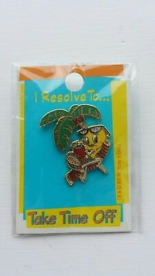 Tweety Bird Looney Tunes WB pin 1996 I resolve to take time off VTG NIP