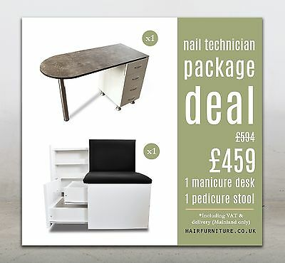 Hair Furniture Nail Bars Manicure Desk and Manicure&Pedicure Stool Deal Package
