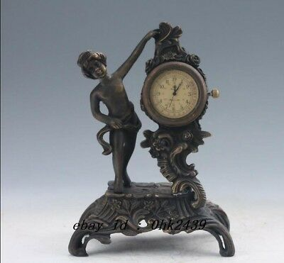 Antiques Old Chinese Brass Handwork Mechanical Table Clock Z111
