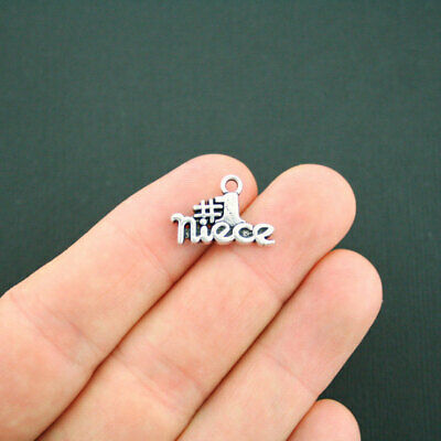 4 Niece Charms Silver Tone 2 Sided with Sparking Rhinestones SC2314