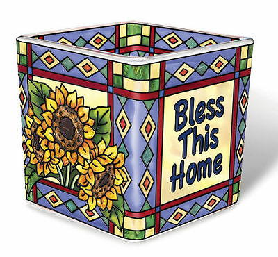 Bless This Home Tea Light Candle Holder Votive Hand Painted Glass AMIA New