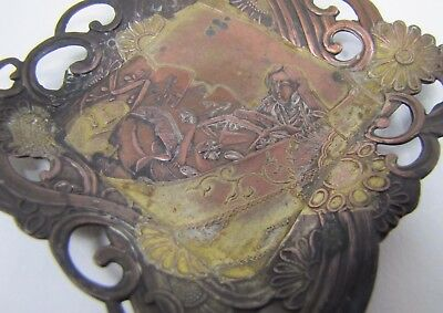 Old Asian Themed Ornate Decorative Art Copper Brass Wash Pin Card Tip Ring Tray