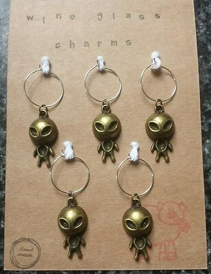 wine glass charms. set of 5. Aliens
