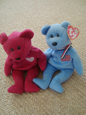 2 beanie babies VALENTINA no tags & AMERICA with tags lovely pair good condition