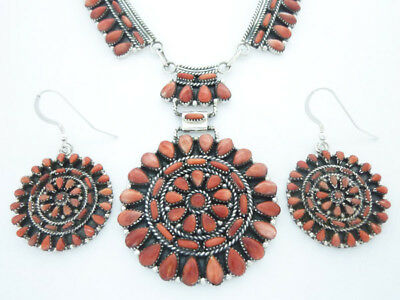 Navajo Silver Cluster Necklace Earring Set Native American