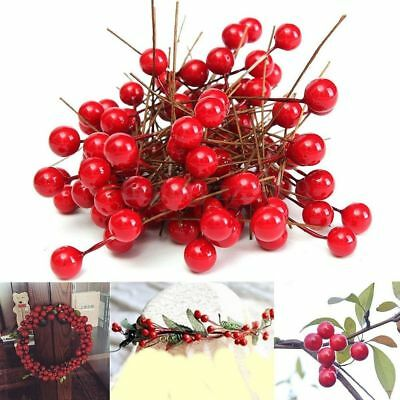 Festival Party Home Red Holly Berry Xmas Tree Hanging Decor DIY Craft Ornament