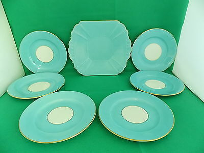 Shelley Art Deco 8775 Pattern Blue 7 Pieces Cake Set C 1910-1925
