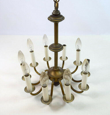 Vtg 10 Light Brass Toned Metal Chandelier Hanging Light Fixture Lamp