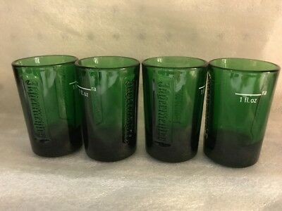 JAGERMEISTER Shot Glasses Green Embossed Heavy 1 oz Logo Lot of 4 NEW