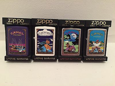 Camel filters zippo set of 4 Collector's Pack Golf Clouds Purple Chrome