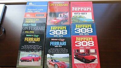 10 (TEN) FERRARI ROAD TEST BOOKS, COMPARISONS, SPECS of All the Famous Models