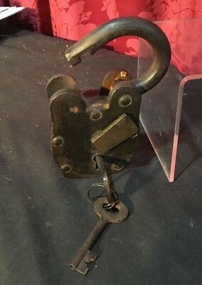 Big Old Cast Wrought Iron Vintage Antique Forged Padlock Working W Keys