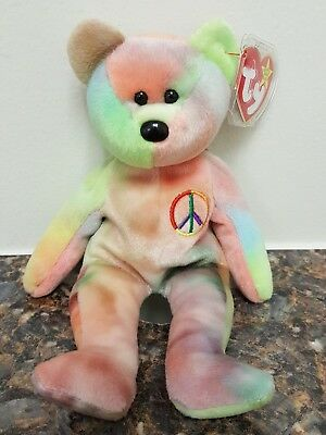 a4d8c430e3a EXTREMELY RARE ERRORS TY Beanie Babies Peace Bear Retired with tag