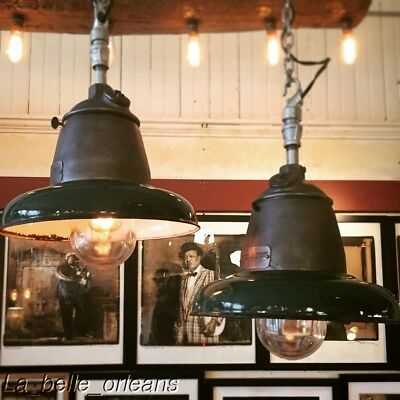 STUNNING VINTAGE INDUSTRIAL EXPLOSION PROOF PAIR OF PENDANT LIGHTS. L@@k!!!