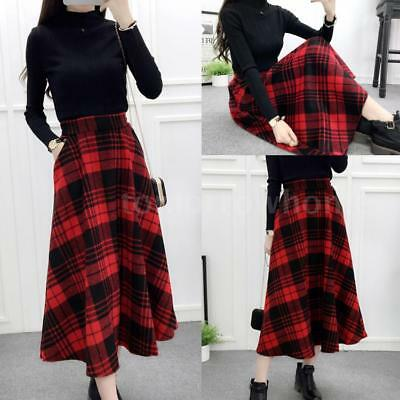 Women High Waist  Winter Wool Blend A Line Midi Skirt Plaids Checks Skirt X6K7