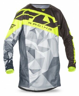 FLY Racing Kinetic Crux 2017 Mens MX/Offroad Jersey Black/Hi-Vis Yellow/Gray