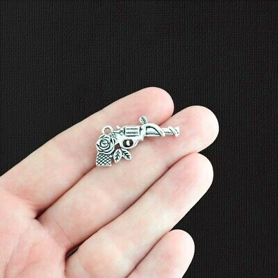 5 Gun Charms Antique Silver Tone guns and Roses 2 Sided - SC1428