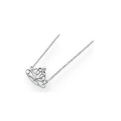 Princess Crown.925 Sterling Silver Charm Pendant Queen Pearl Chain Necklace