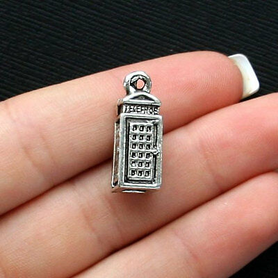 5 Telephone Booth Charms Antique Silver Tone 3 Dimensional - SC2487