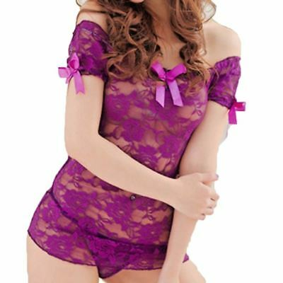 Sexy/Sissy Lace Sheer Babydoll Lingerie Dress Nightwear Net Underwear Sleepwear